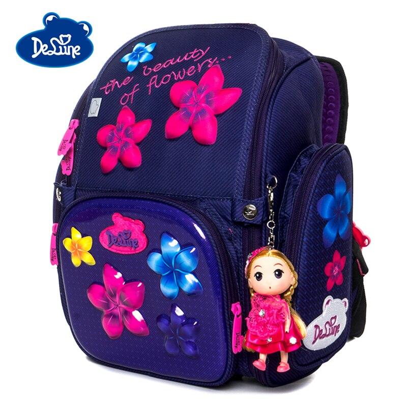 Delune New 3D Flower Pattern School Bags For Girls Boys Cartoon Backpack Children Orthopedic Backpacks Primary