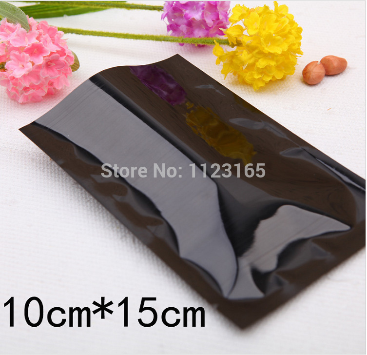 10X15CM, 200 x Black Heat seal proof Aluminum Foil plastic bag, mask powder / Liquid packing bag Metallic plating Foil Pouches