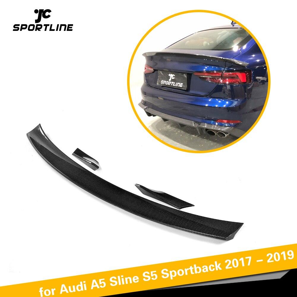 Aileron de coffre arrière en Fiber de carbone aile pour Audi A5 S5 Sportback hayon 4 portes 2017 2018 2019 style de voiture 3 pièces/ensemble pas berline