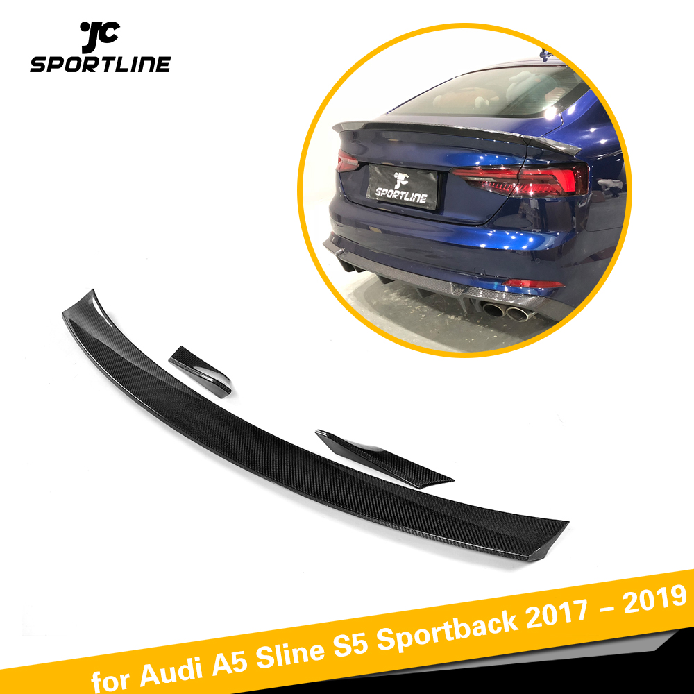 Carbon Fiber Rear Trunk Spoiler Wing Lip for <font><b>Audi</b></font> <font><b>A5</b></font> S5 <font><b>Sportback</b></font> Hatchback 4 Door <font><b>2017</b></font> 2018 2019 Car Styling 3PCS/Set Not Sedan image