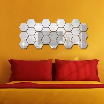 12pcs 3d mirror hexagon vinyl remo