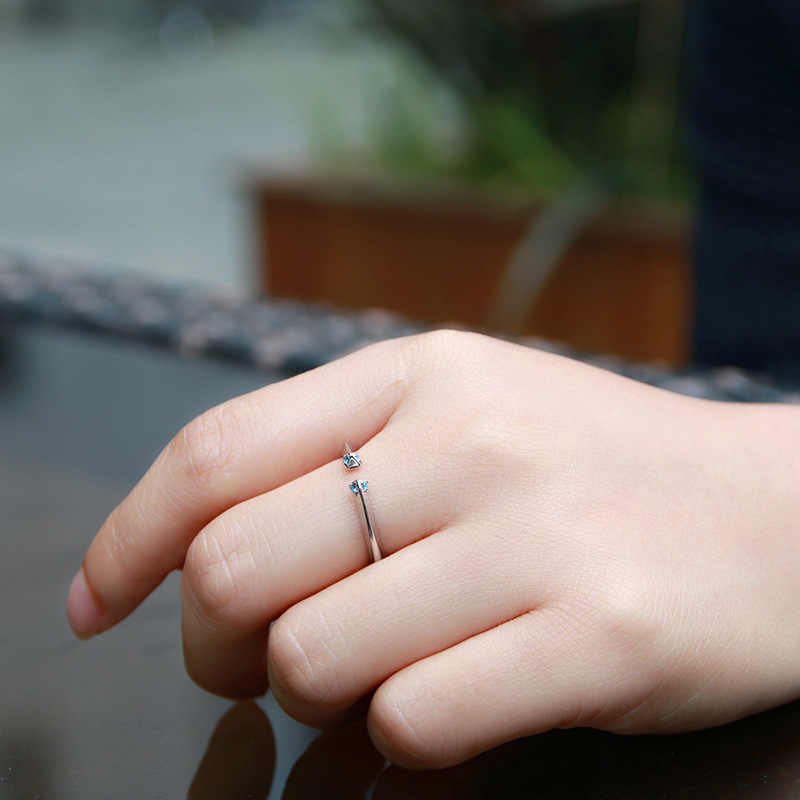 LKO חדש מגיע אוהבי טבעת קרחון טבעת כסף צבע עבור נשים תכשיטי מתכוונן טבעת גודל 6 7 8 9 10