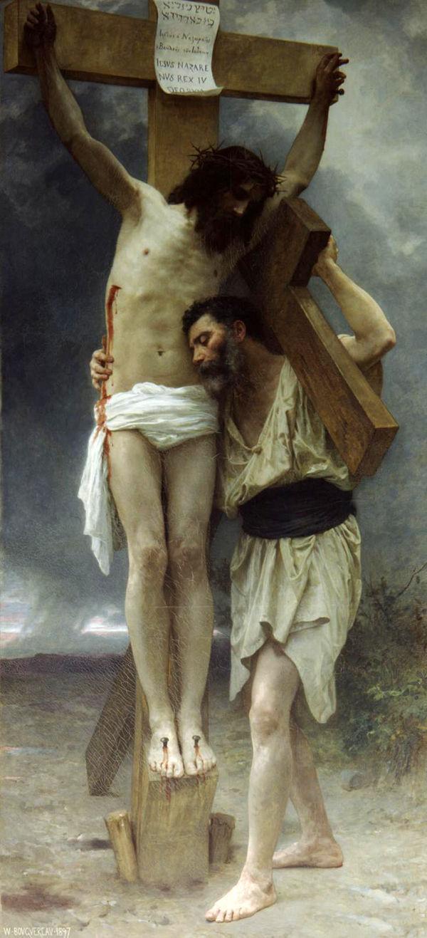 """유화 TOP -Adolphe Bouguereau-동정심! 십자가 무료 배송 비용 --36 """"에 큰 수공예 유화 그리스도 예수"""