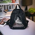 European and American style small backpack Women's fashion washed leather leisure and travel bag Rivet  black soft vintage bag