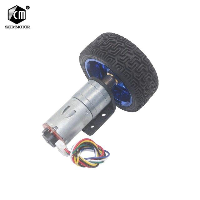 Dc 6V 12V 24V 12 1360 Rpm Mini Encoder Reductiemotor Met Koppeling 65Mm Wiel smart Tracking Line Smart Car Kit