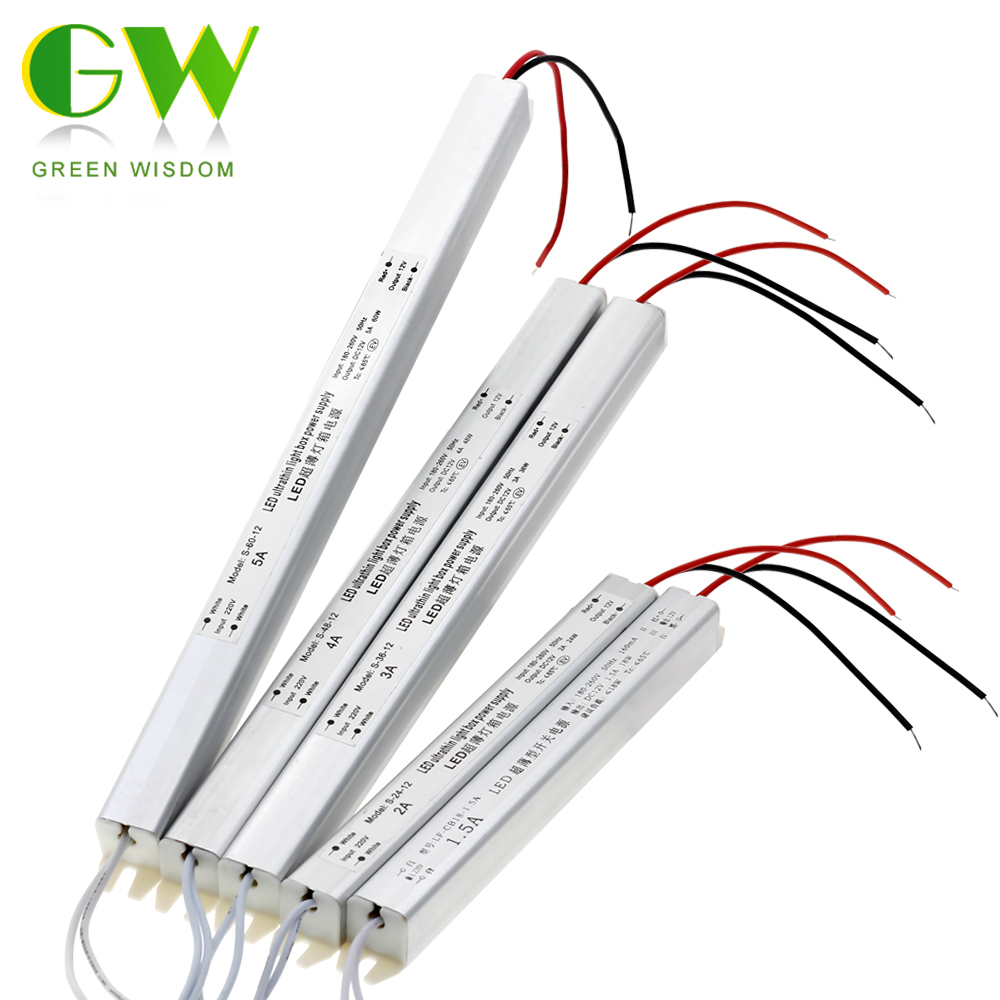 LED Driver 12V 1.5A 2A 3A 5A Ultrathin Switching Power Supply Lighting Transformer 18W 24W 36W 48W 60W For LED Strip Light Box