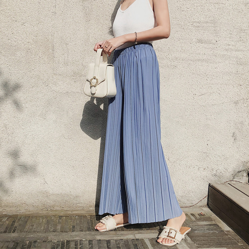 Mooirue Pleated   Wide     Leg     Pants   Women Spring Summer High Waist Chiffon Black Pink Korean Striped Pantalon Femme Trouser Bottom