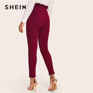Image 2 - SHEIN Elegant Frill Trim Bow Belted Detail Solid High Waist Pants Women Clothing Fashion Elastic Waist Skinny Carrot Pants