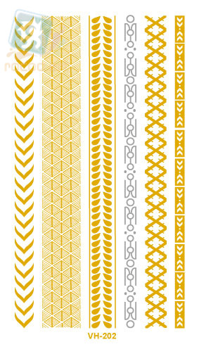 Flash Golden and Silver Fake Temporary Tattoo Sticker Metalic Small Hair Chain Tatoo