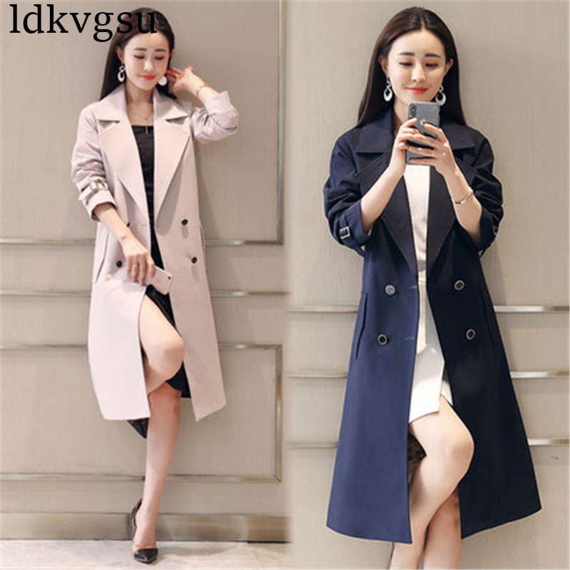 Windbreaker Female Long section Korean 2019 New Women's British casual Large Size Spring Autumn   Trench   Coat V391