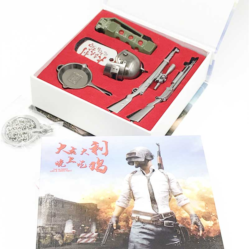 Cheap Sale Playerunknowns Battlegrounds Weapn Keychain Box Toys Anime Pubg Gun Pan Helmet Smoke Boom Model Toy Eat Chicken Tonight Toys Smoothing Circulation And Stopping Pains Action & Toy Figures