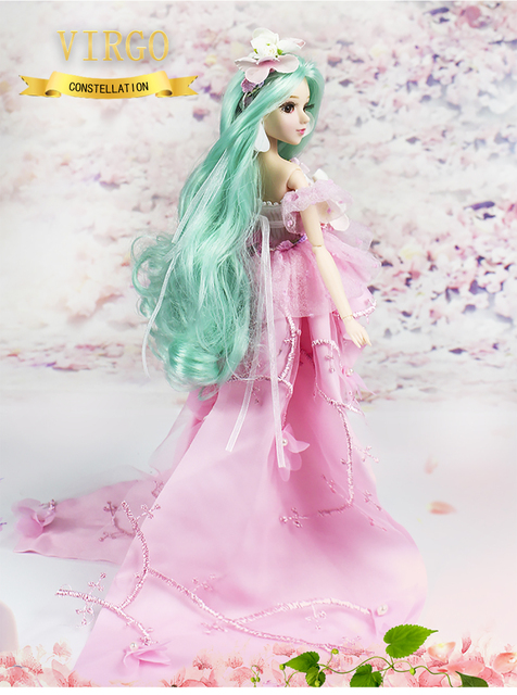 MMG Girl fortune days BJD doll 12 constellations virgo with pink dress shoes stand necklace Flower basket joint body toy gift 3