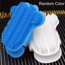 Portable Palm Shaped Pet Bath Brush Soft Plastic Dog Rubbing Brush Durable Pet Shower Gloves Massage Brush Dog Supplies