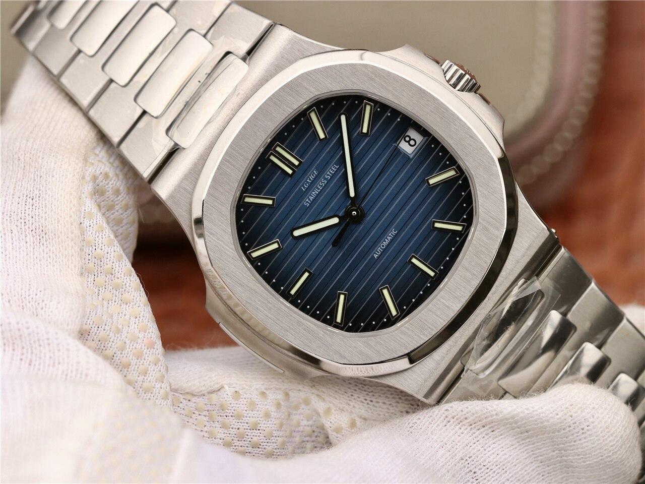 inoxidável masculino luminoso mãos nautilus relógio de