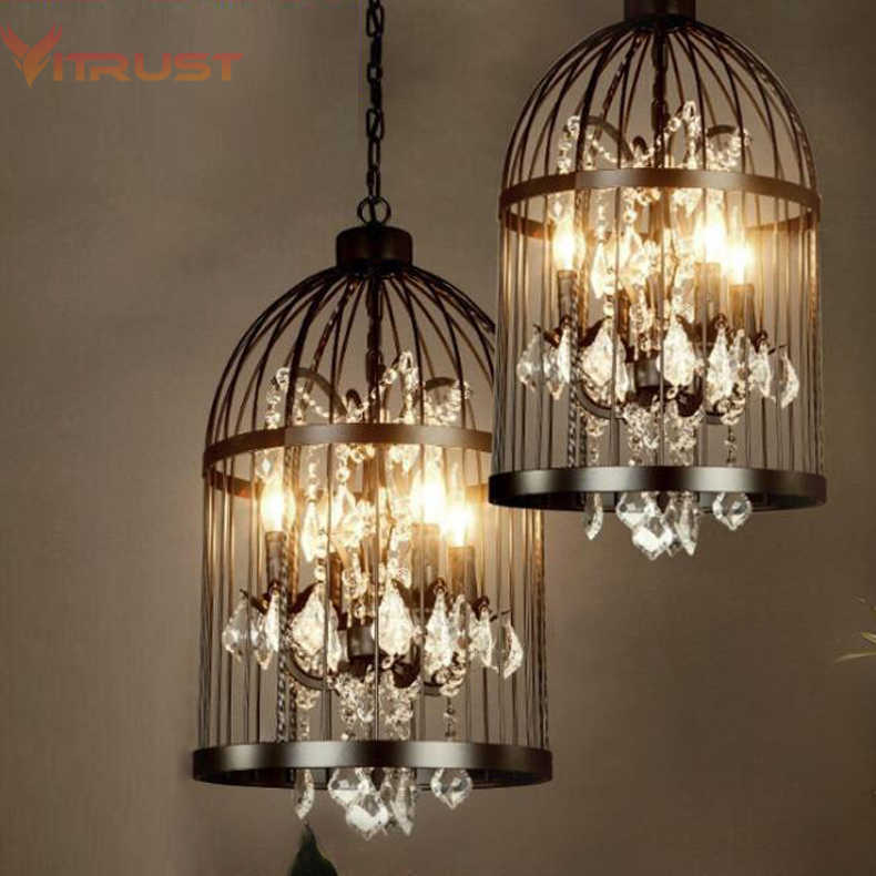 Cage pendant chandelier lamp American vintage restaurant bird cage crystal chandelier lamp Home Deco E14 Rust/Black pendant lamp