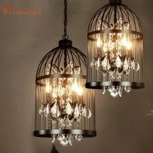 Cage pendant chandelier lamp American vintage restaurant bird cage crystal chandelier lamp Home Deco E14 Rust/Black pendant lamp недорого
