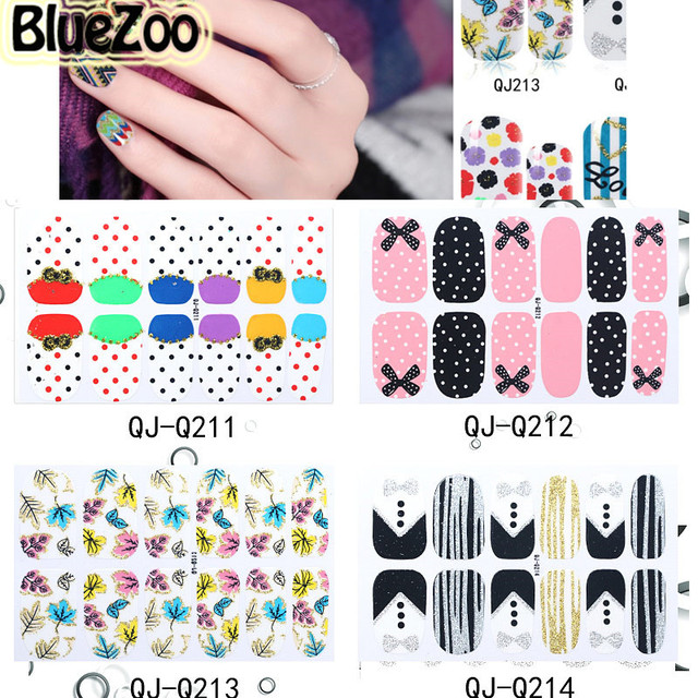 Bluezoo 1 Sheet Full Cover Manicure Stickers Nail Decal For Nail Art
