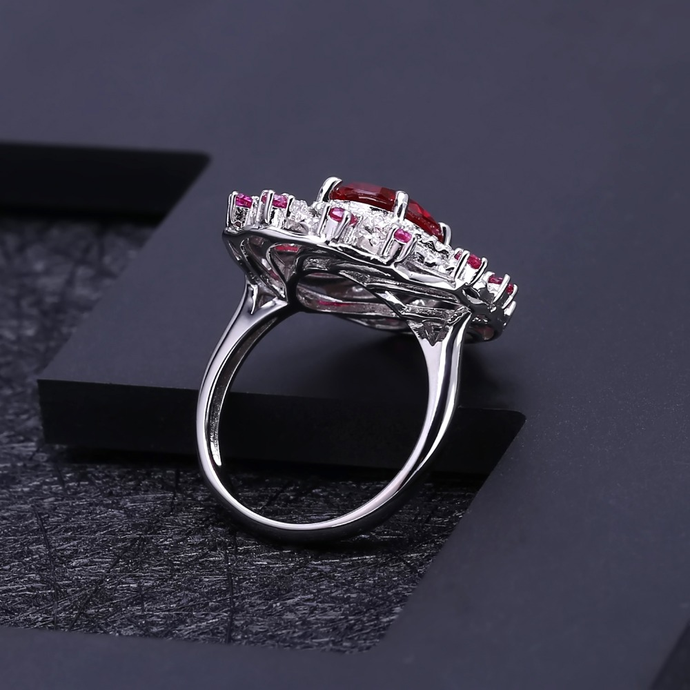 Image 5 - Gems Ballet Huge Luxury Created Ruby Vintage Cocktail Ring 925  Sterling Silver Engagement Wedding Rings For Women Fine JewelryRings