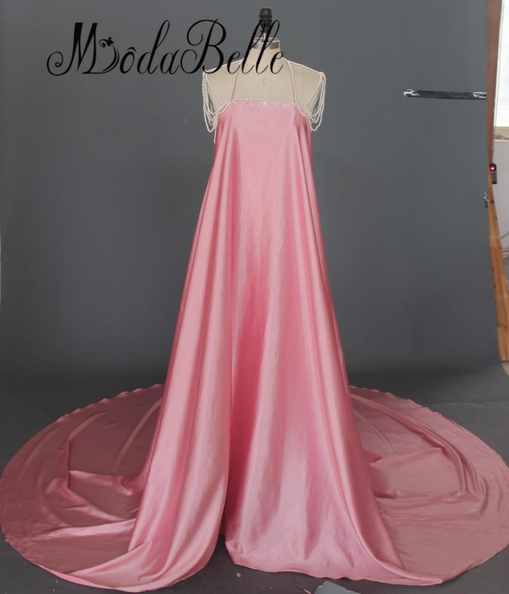2017 Sexy dos nu perles maternité Maxi robe de soirée robes formelles longue enceinte robes de soirée accessoires de photographie séance Photo - 4