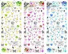 3 folha/lote borboleta buquê anel marca dwaterágua grande folha de transferência de água adesivo acessórios decalque para festa de casamento HOT118-120