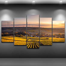Modern Paintings HD Printed Posters Modular 5 Panel Countryside Landscape Home Decor Tableau Wall Art Pictures Canvas PENGDA(China)