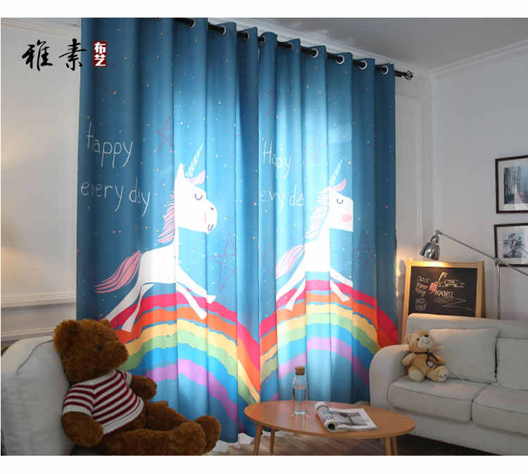 Korean Cartoon Children Bedroom Curtains Boys And Girls Princess Room Unicorn Rainbow Printing Finished Curtains Curtain Boy Bedroom Curtainschildren Bedroom Curtains Aliexpress,Single Bedroom Small 1 Bedroom Apartment Design Plans