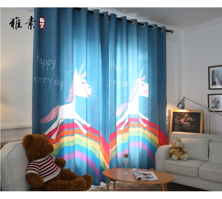 US $37.99 5% OFF|Korean cartoon children bedroom curtains boys and Girls  Princess Room unicorn rainbow printing finished curtains-in Curtains from  ...