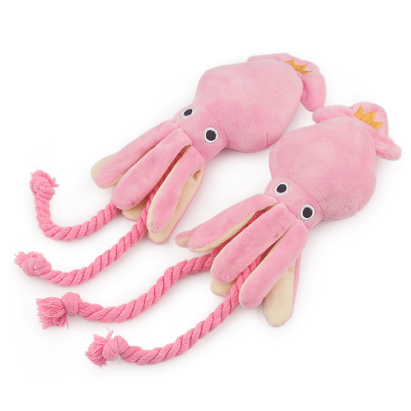 Cute Squid Dog Toy Sound BB Plush Pet Puppy Rope Toys Pink Chew Squeak Toys For Cat 2