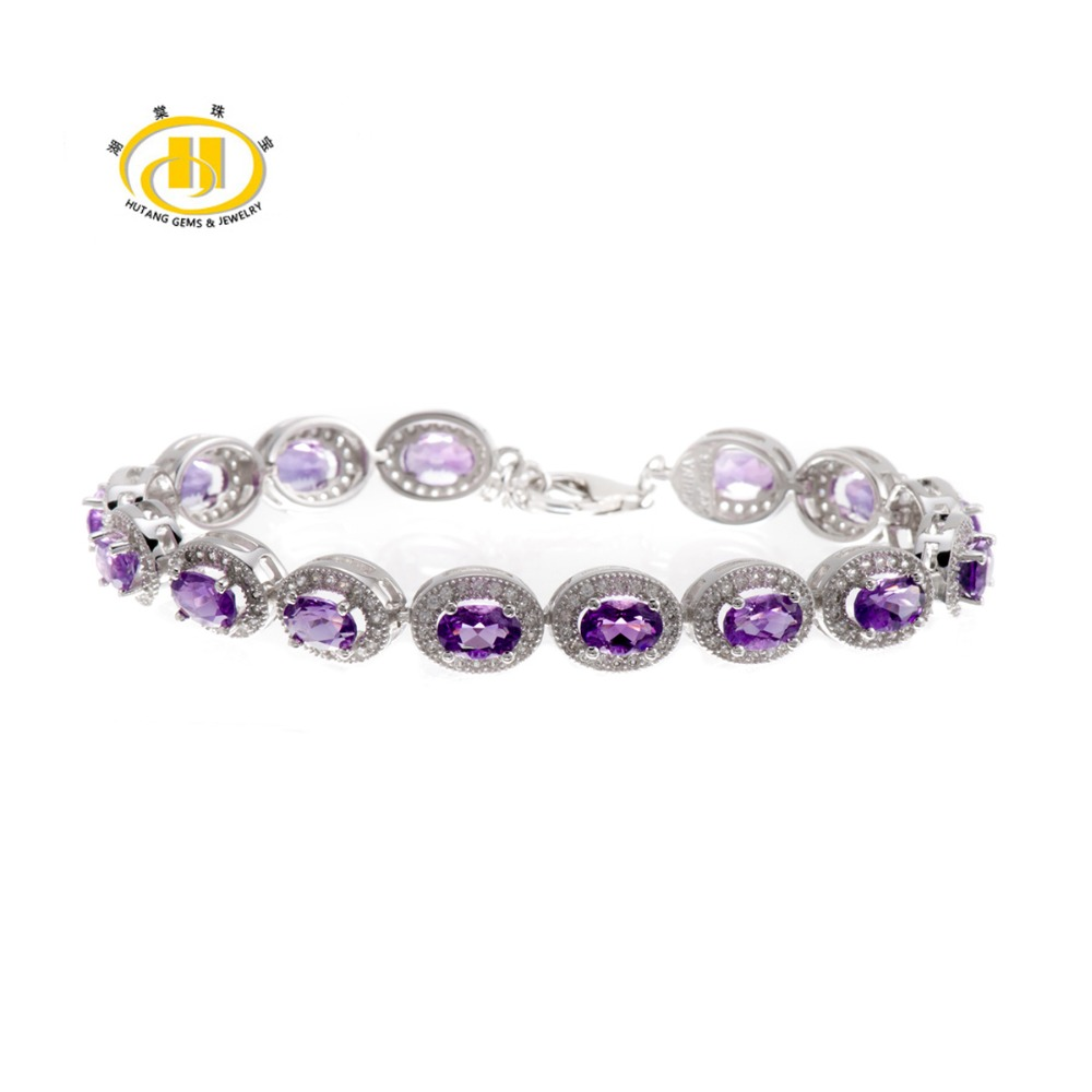 Hutang Stone Jewelry 8.83 CT Natural Amethyst Gemstone Solid 925 Sterling Silver Bracelets for women Fine Fashion Jewelry 7.25Hutang Stone Jewelry 8.83 CT Natural Amethyst Gemstone Solid 925 Sterling Silver Bracelets for women Fine Fashion Jewelry 7.25