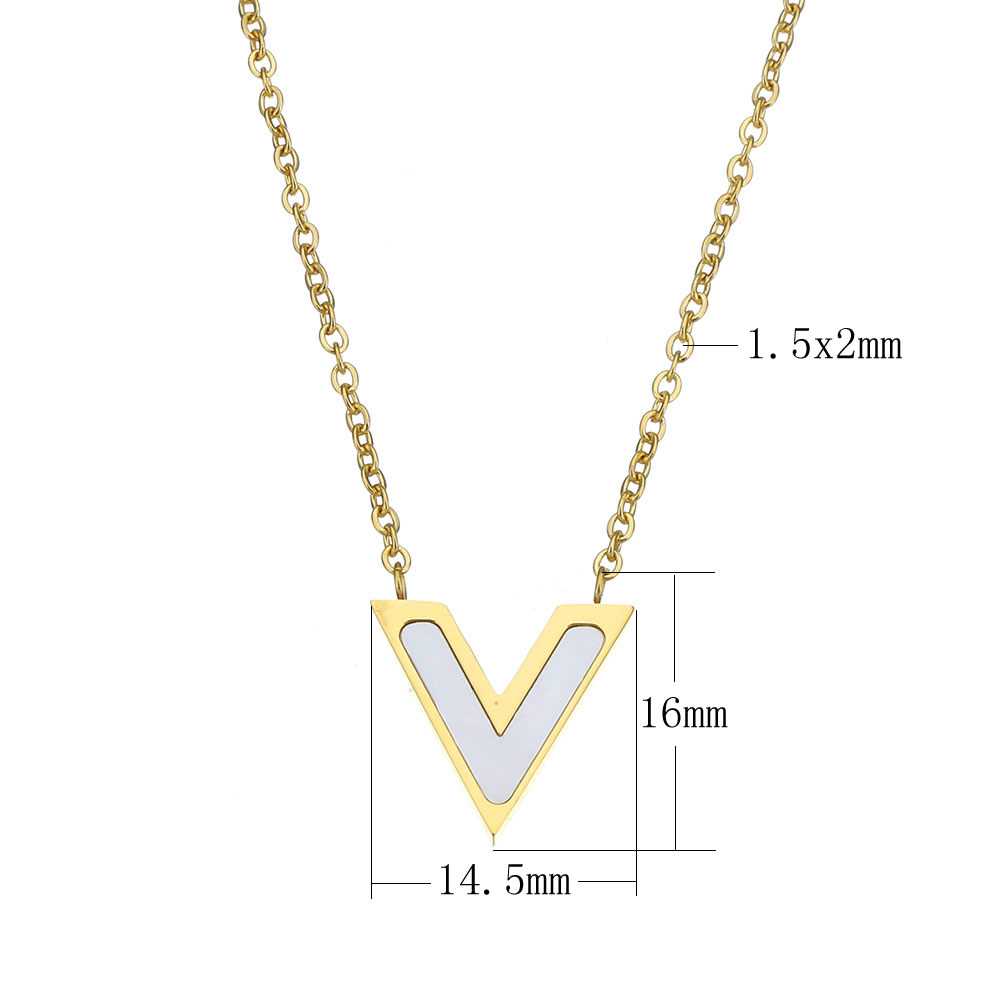2017 resin lucite necklace famous stainless steel with resin lucite letter v gold color plated plating