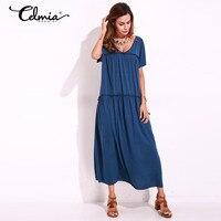 2017 Summer Women Long Pleated Dresses Casual Maxi Dress Kaftan Loose Robe Short Sleeve V Neck