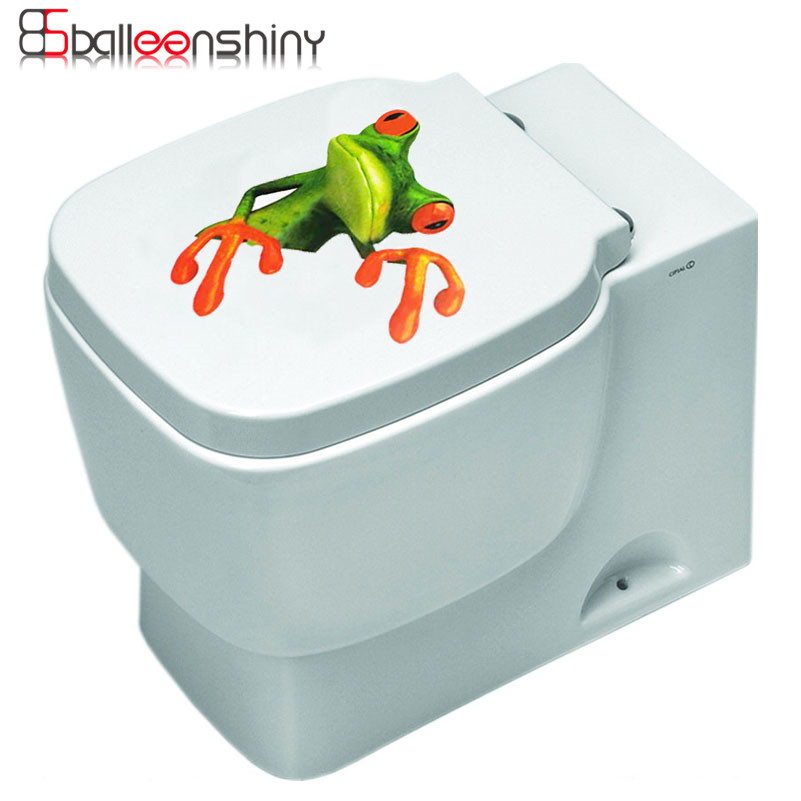 Frog Animal Toilet Sticker Paste Smile Furniture Decorative Bathroom Wall  Stickers 3D Personality DIY Home Decor