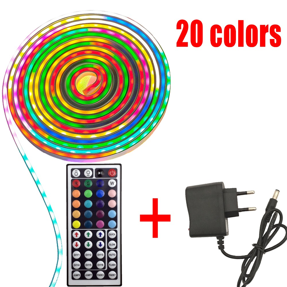 RGB LED Strip 12v Light 20 Color 5050 2835 20M 10M 5M LED Light Rgb Leds Tape Diode Ribbon Flexible Controller Adapter Set