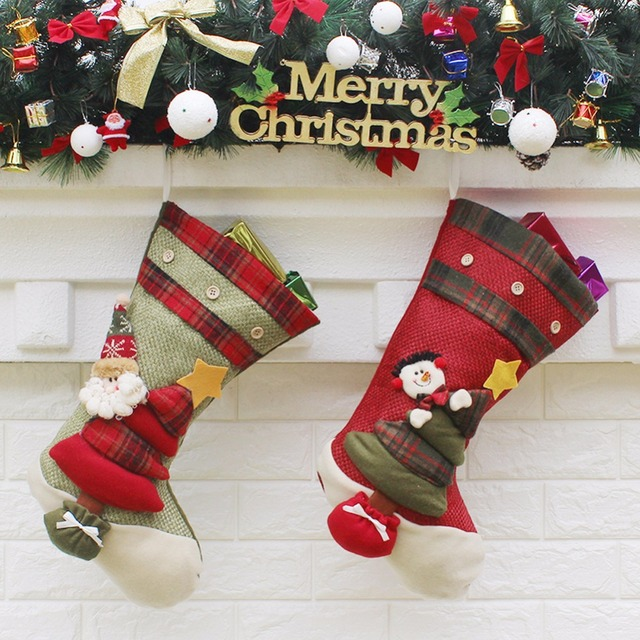 christmas stockings socks santa claus candy gift bag xmas tree decor festival party ornament christmas decorations - Where To Buy Christmas Stockings