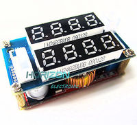 10PCS 5A Adjustable CC CV Step Down Charge Module LED Panel Voltmeter Ammeter