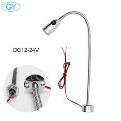 3W DC12V 24V LED obrabiarka sterowana komputerowo lekka elastyczna L40cm gęsiej szyi lampa robocza led warsztatowa srebrna czarna magnetyczna lampa przemysłowa|Oświetlenie przemysłowe|Lampy i oświetlenie -