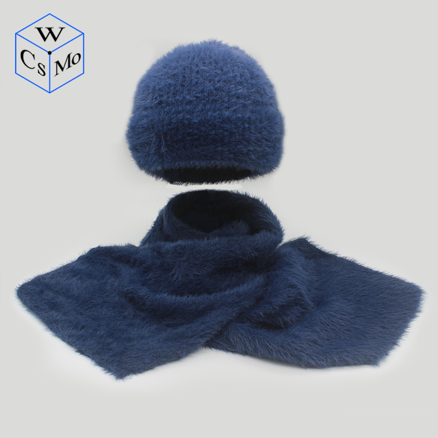 2 Pieces Set New Winter Hat And Scarf For Women Winter Scarf Faux Mink Female Winter Hat Casual Solid Color Hat And Scarves Set
