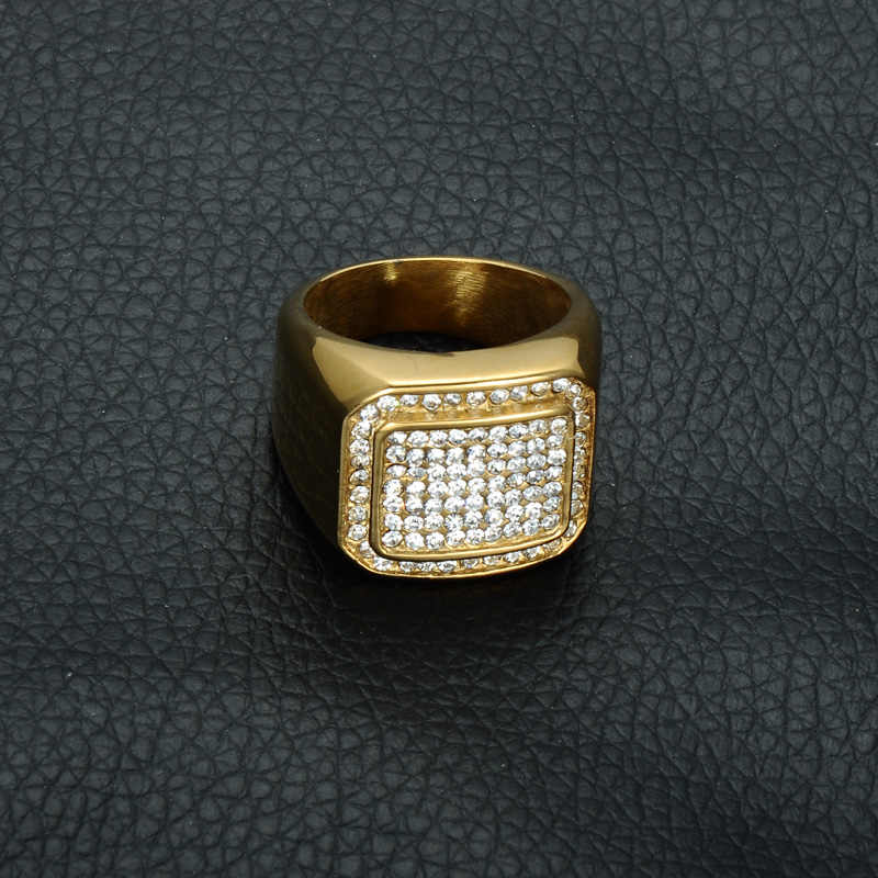 e4116a3b96 HIP Hop Micro Pave Rhinestone Iced Out Bling Square Ring IP Gold Filled  Titanium Stainless Steel Rings for Men Jewelry