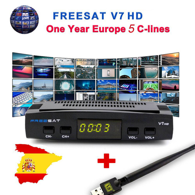 US $24 99 |Freesat V7 HD CCcam Satellite Receiver +1 Year Europe Spain CCam  7 Cline Server+1 USB WIFI DVB S2 Receptor Satellite HD Receiver-in