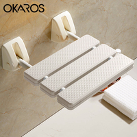 OKAROS White Yellow Folding Wall Mounted Shower Seats Bench Shower Seat Bathroom Folding Toilet Shower Chair TB001