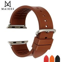 MAIKES Fluorocarbon Rubber Watchbands For Sports Apple Watch Bands 44mm 40mm 42mm 38mm series 4 3 2 1 iwatch Apple Watch Strap цена и фото