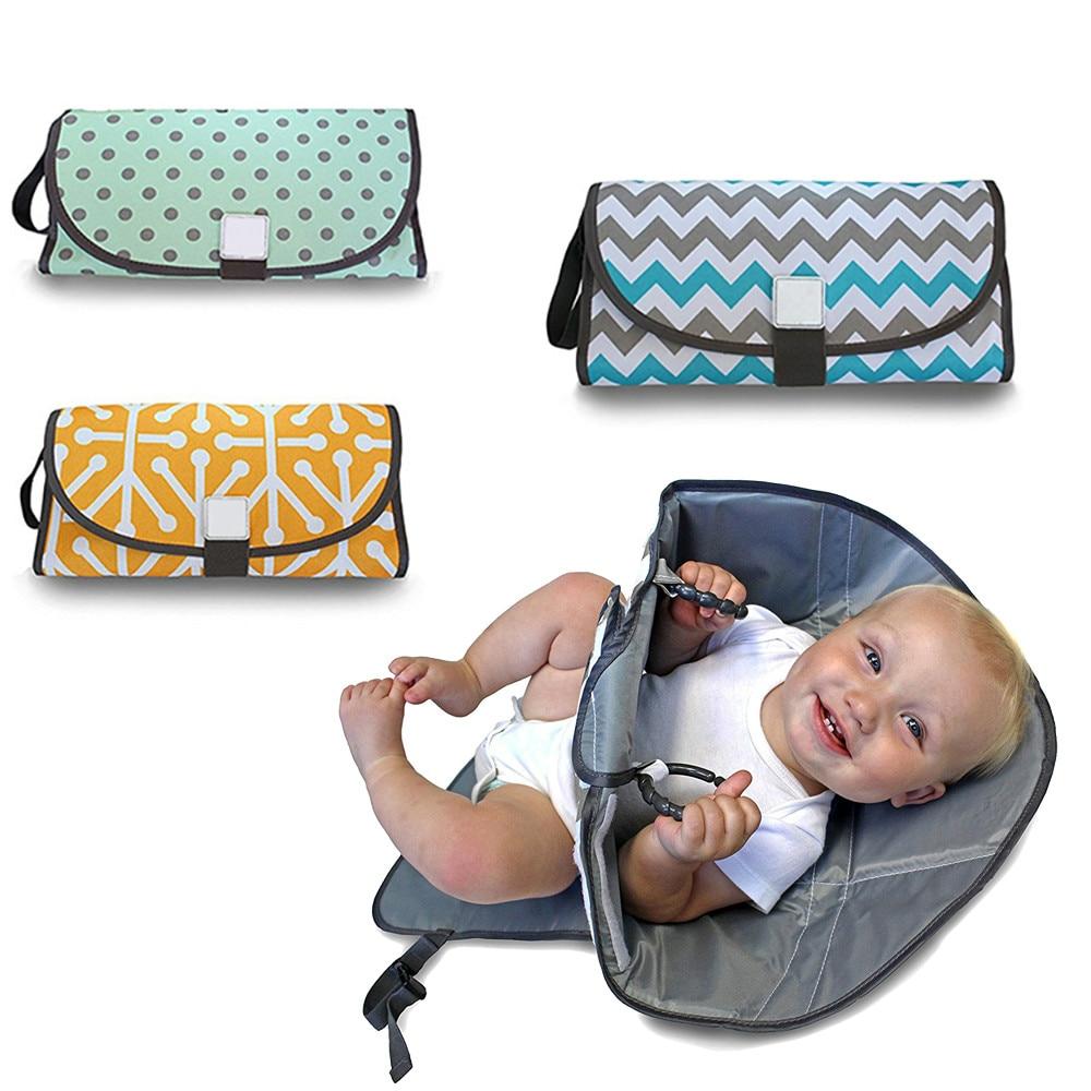 Portátil cambiador de pañales para el bebé reutilizable pañal impermeable cambios Pad con cubierta infantil viaje plegable pañales bolsa