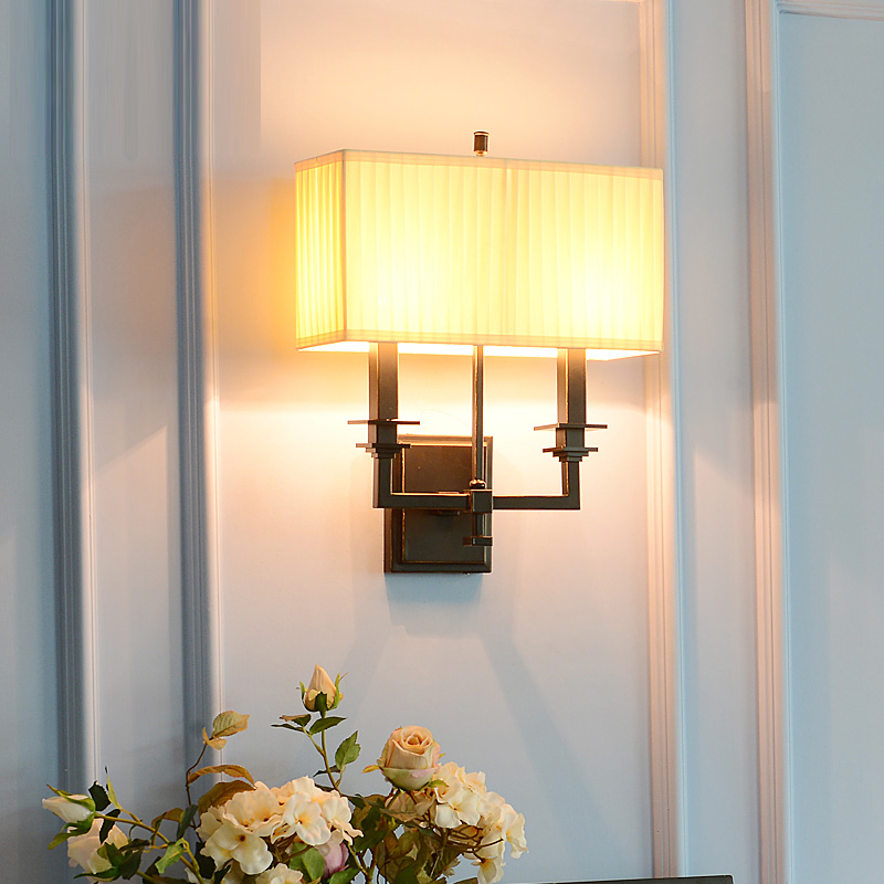 Retro Japan Style Guest room Wall lamp indoor lighting with fabric lampshade Bedside Wall Lamps Sconce Living Room Garden light