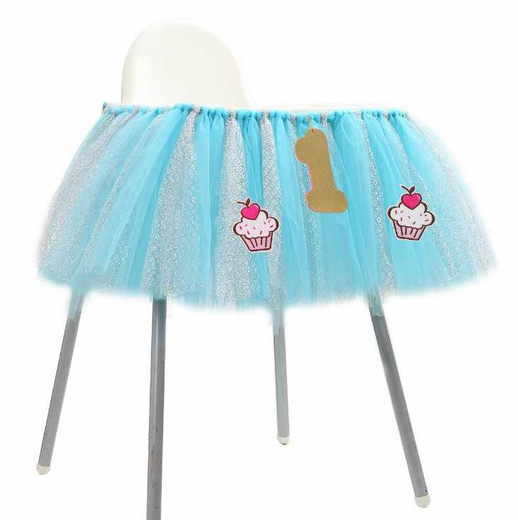 Горячая Детские первый день рождения поставки стульчик Тюль Юбка для стола блеск стул юбка для вечерние поставки милый ребенок душ украшения