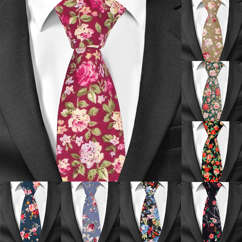 Fashion Men Floral Print Tie Suit Skinny Ties Slim Cotton Neck Tie Necktie T