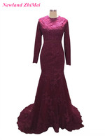 Muslim Long Sleeves Lace Prom Dresses 2017 Vintage Dubai Arab Mermaid Evening Gowns with Appliques and Veil Special Design