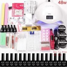 Акриловый набор для ногтей, Гель-лак, светодиодная УФ лампа для ногтей, маникюрный набор, 12 цветов, набор для наращивания ногтей, сверла, набор ручек