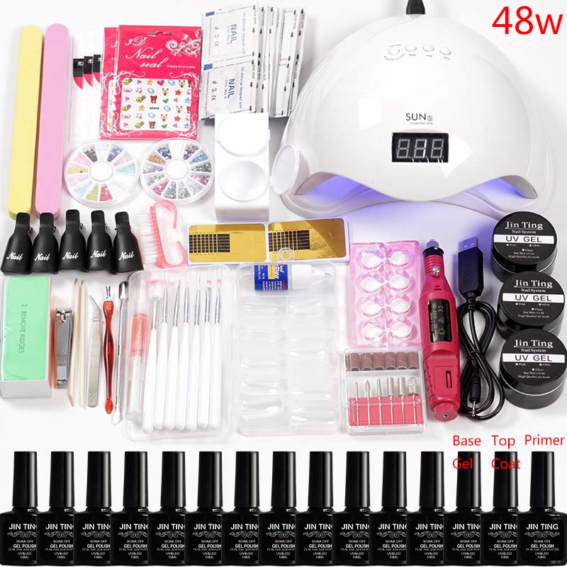 Kit de vernis à ongles acrylique vernis à ongles Led Uv lampe à ongles ensemble de manucure 12 couleurs ensemble d'extension de forets à ongles Kit de poignée