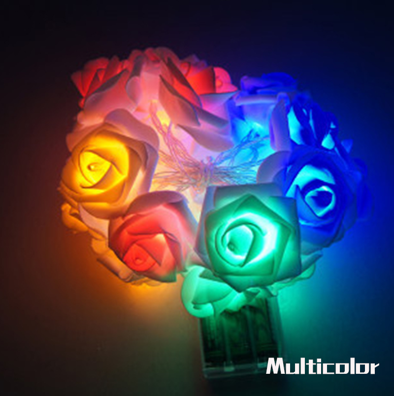 Garland 20pcs / set Rose Flower Fairy luces decorativas lampu tali - Pencahayaan perayaan - Foto 5