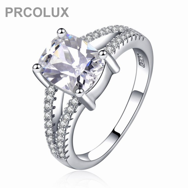 prcolux fashion female girl round cut ring 925 sterling silver white promise wedding engagement rings for - Girl Wedding Rings